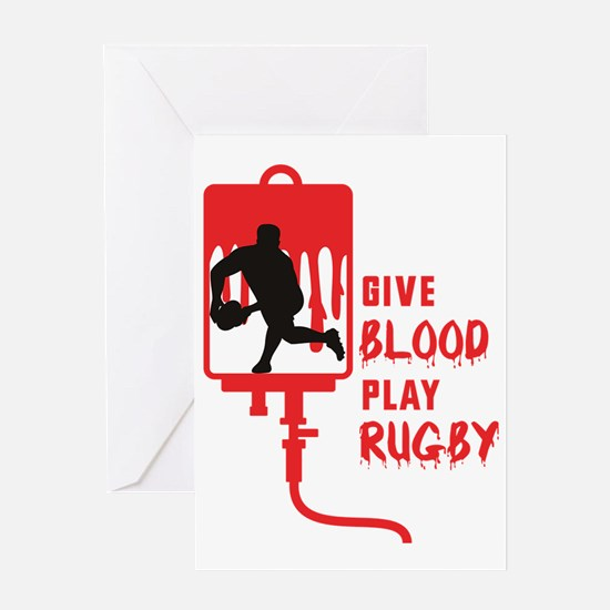 Rugby player passing ball give blood Greeting Card