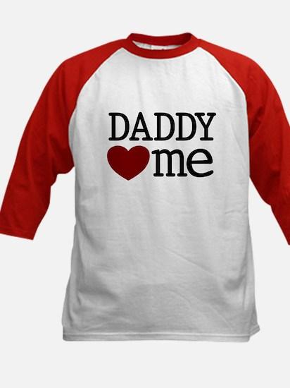 Daddy Heart Me Kids Baseball Jersey