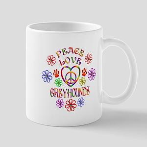 Peace Love Greyhounds Mugs
