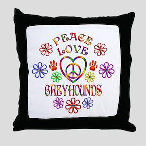 Peace Love Greyhounds Throw Pillow