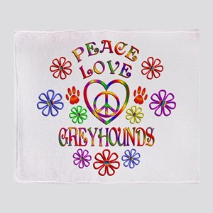 Peace Love Greyhounds Throw Blanket