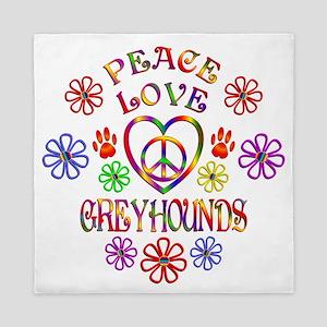 Peace Love Greyhounds Queen Duvet