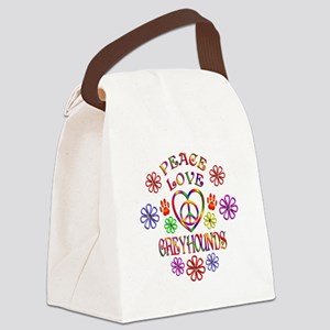 Peace Love Greyhounds Canvas Lunch Bag