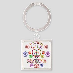 Peace Love Greyhounds Keychains