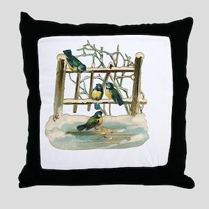 Vintage Birds Throw Pillow