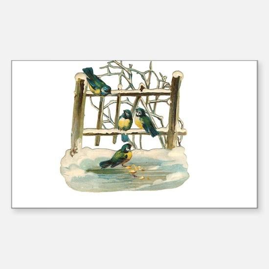 Vintage Birds Rectangle Decal