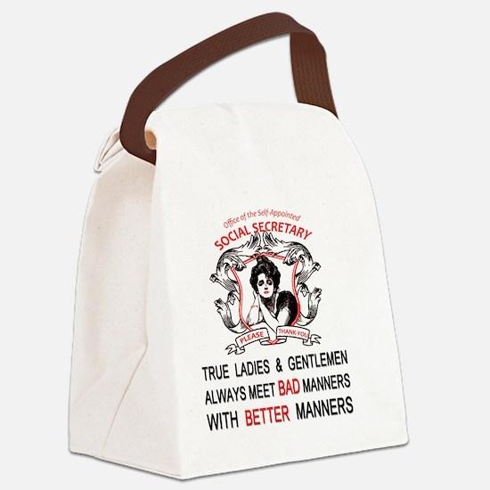 Social Secretary Manners copy Canvas Lunch Bag