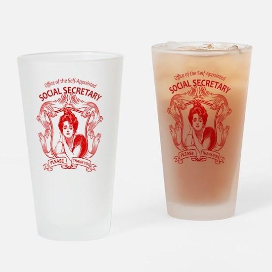 social secretary badge copy Drinking Glass