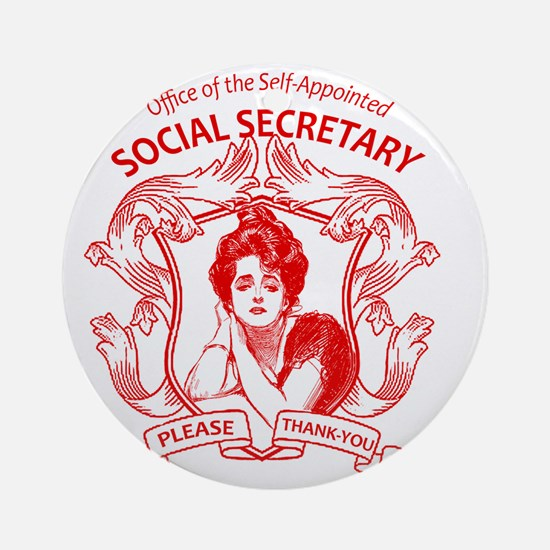 social secretary badge copy Round Ornament