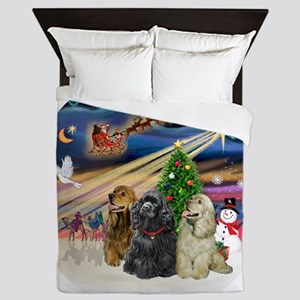 Xmas Magic - Cocker Spaniels (three) Queen Duvet