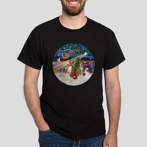 Xmas Magic - Basenjis (two) Dark T-Shirt