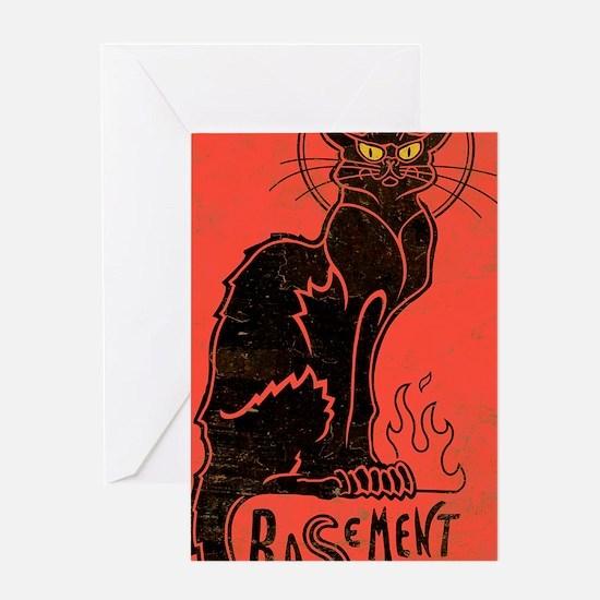 basement_cat_mini Greeting Card