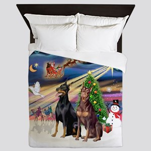 Xmas Magic - Dobermans (TWO-Blk-Red) Queen Duvet