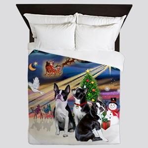 Xmas Magic - Boston Terriers (three) Queen Duvet
