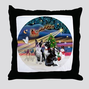 Xmas Magic - Boston Terriers (three) Throw Pillow