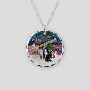 Xmas Magic - Boston Terriers Necklace Circle Charm