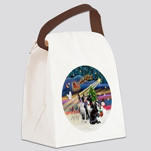 Xmas Magic - Boston Terriers (thr Canvas Lunch Bag