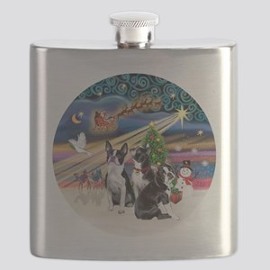 Xmas Magic - Boston Terriers (three) Flask