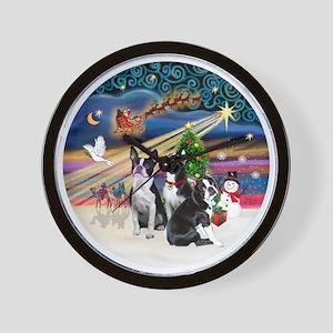 Xmas Magic - Boston Terriers (three) Wall Clock