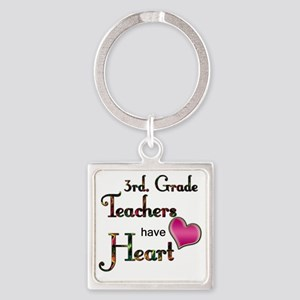 Teachers Have Heart 3 Square Keychain