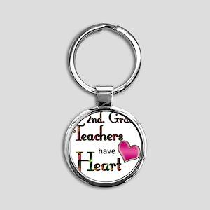 Teachers Have Heart 2 copy Round Keychain