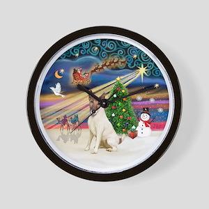 Xmas Magic - Fox Terrier (brown-Smooth) Wall Clock