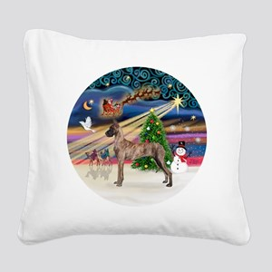 Xmas Magic - Great Dane (brin Square Canvas Pillow