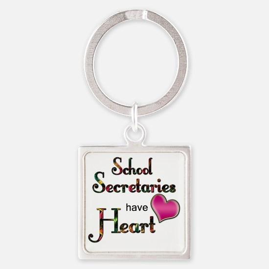 Teachers Have Heart school secreta Square Keychain