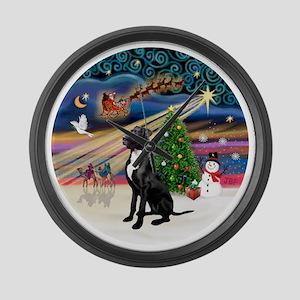 Xmas Magic - Great Dane (black-na Large Wall Clock