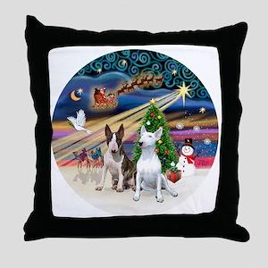 Xmas Magic - Bull Terriers (two) Throw Pillow
