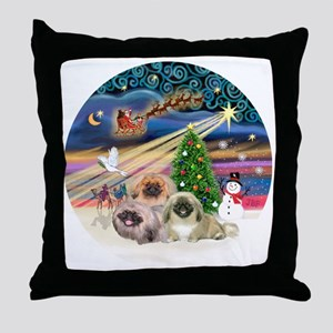 Xmas Magic - Pekingese (Three) Throw Pillow