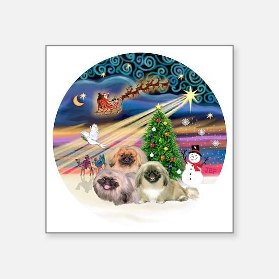 """Xmas Magic - Pekingese (Thr Square Sticker 3"""" x 3"""""""