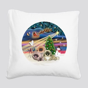 Xmas Magic - Pekingese (Three Square Canvas Pillow