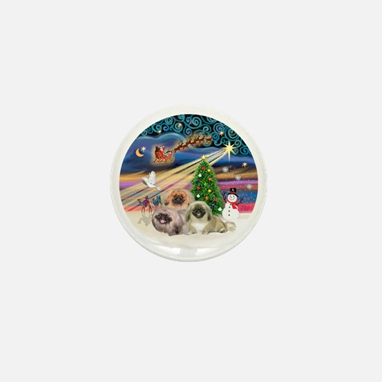 Xmas Magic - Pekingese (Three) Mini Button