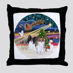 Xmas Magic - Papillons (two-BW+Sable) Throw Pillow