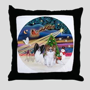 Xmas Magic - Papillons (two-BW+Sable) Throw Pillow