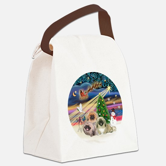 Xmas Magic - Pekingese (Three) Canvas Lunch Bag