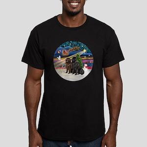 Xmas Magic - Newfoundl Men's Fitted T-Shirt (dark)
