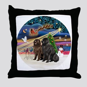 Xmas Magic - Newfoundland (TWO-Blk-Br Throw Pillow