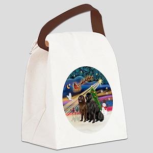 Xmas Magic - Newfoundland (TWO-Bl Canvas Lunch Bag