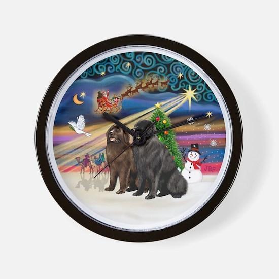 Xmas Magic - Newfoundland (TWO-Blk-Brow Wall Clock