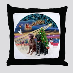 Xmas Magic - Labradors (black-chocola Throw Pillow