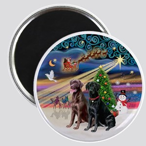 Xmas Magic - Labradors (black-chocolate) Magnet