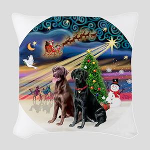 Xmas Magic - Labradors (black- Woven Throw Pillow