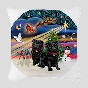 Xmas Magic - Pugs (TWO black) Woven Throw Pillow