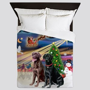 Xmas Magic - Labradors (black-chocolat Queen Duvet