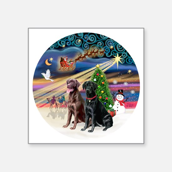 "Xmas Magic - Labradors (bla Square Sticker 3"" x 3"""