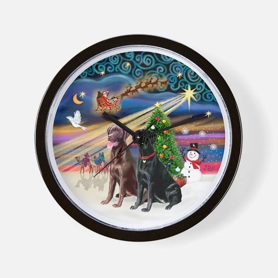 Xmas Magic - Labradors (black-chocolate Wall Clock