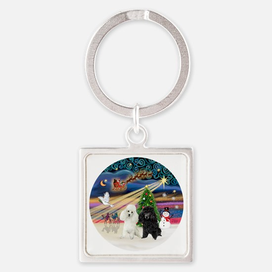 Xmas Magic - Poodles (TWO toy-BW) Square Keychain
