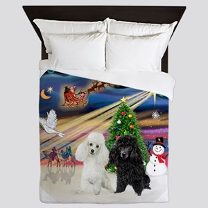 Xmas Magic - Poodles (TWO toy-BW) Queen Duvet
